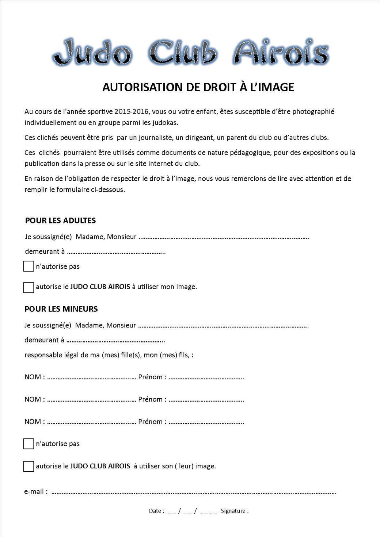 Autorisation du droit à l'image