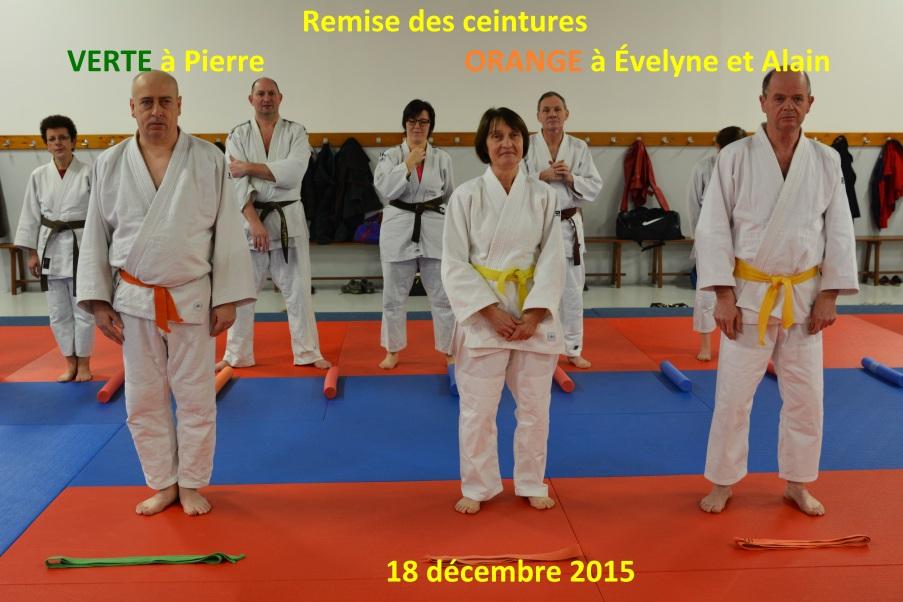Remise ceinture orange à Evlyne et Alain, de la ceinture verte à Pierre