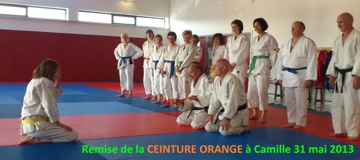 Remise de la CEINTURE ORANGE à Camille 31 mai 2013